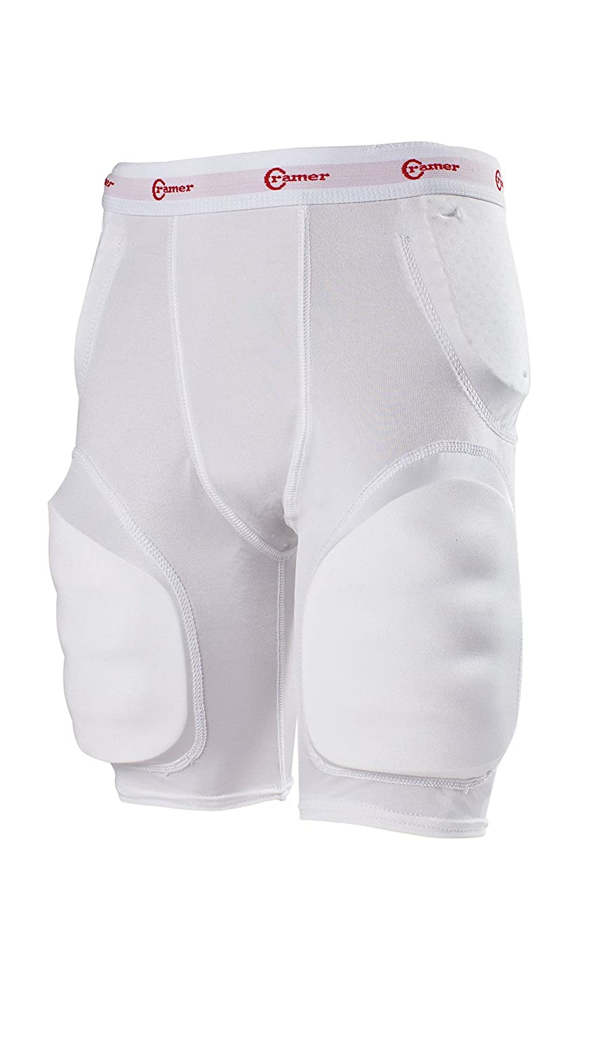 Cramer Classic 5-Pad Football Girdle With Hip, Tailbone and Thigh Pads, Integrated Girdle, Compression Football Gear, Football Equipment, Football Pads, Protective Gear for Football, Assorted Sizes 1502HTPT S Wht-P