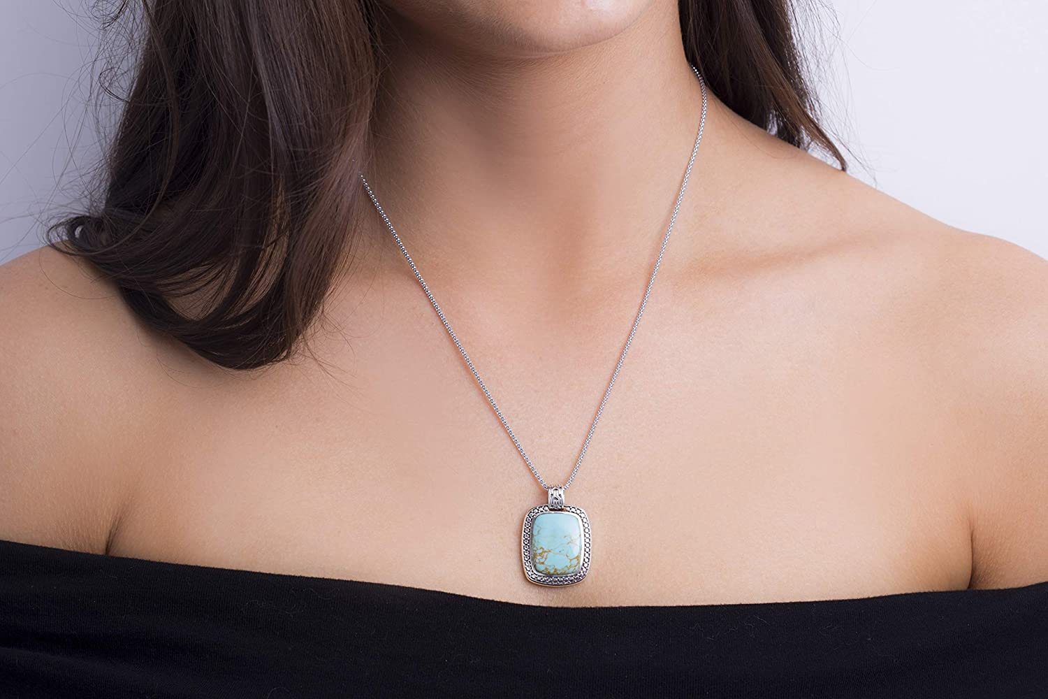 Willowbird Oxidized Sterling Silver Simulated Turquoise Beaded Rectangle Pendant Necklace