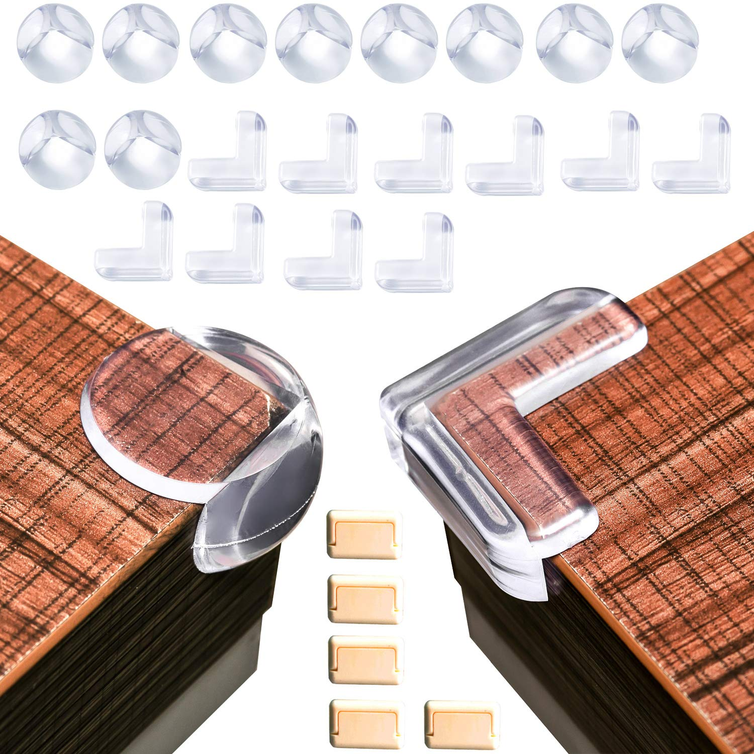 20Pack Baby Proofing Table Corner Guards, Soft Transparent Corner Protector, Anti-Collision Angle, Furniture Corner Protector Clear with Free 5Pcs Outlet Plug Covers…