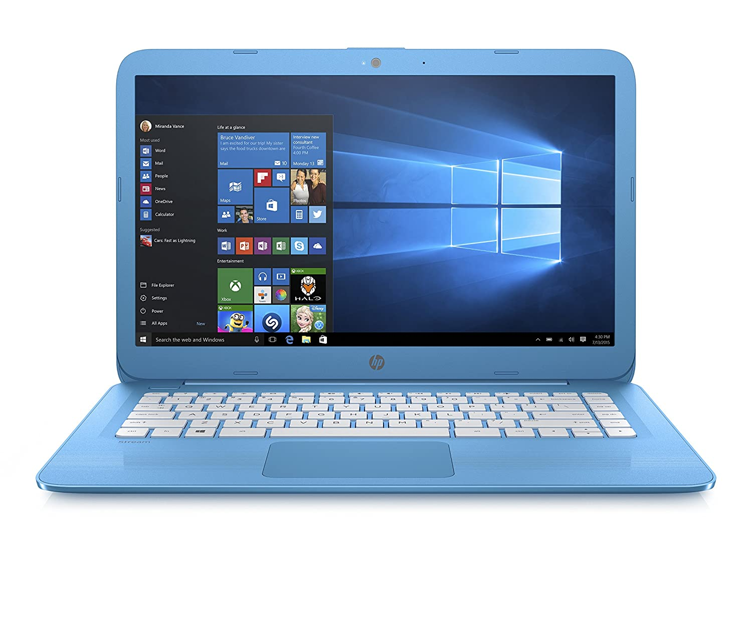 Hp Stream 14 Ax000na Inch Hd Laptop Aqua Blue Intel Celeron Of A Computer Diagram For Kids Personal N3060 4gb Ram 32gb Emmc 1tb Onedrive And Office 365 1 Year Subscription Included