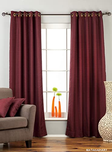 Indian Selections Lined-Dark Maroon Ring Top Matka Raw Silk Curtain Drape – 80W x 120L – Piece