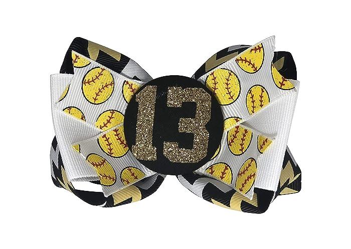 0b74fa52a Amazon.com  Black   Gold Softball Glitter Bling Number Hair Bow ...
