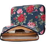 kayond Canvas Water-resistant 14 inch Canvas laptop sleeve with pocket 14 inch 14.1 inch laptop case Macbook Pro 15.4 A1707 (14-14.1 inches, Blue Peony)