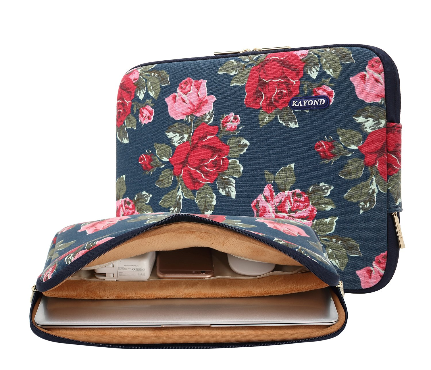 Kayond Canvas Water-Resistant 13 inch Laptop Sleeve -13 inch 13.3 inch Laptop case,12.9 inch Tablet Case Compatible MacBook(13-13.3 inches, Blue Peony)