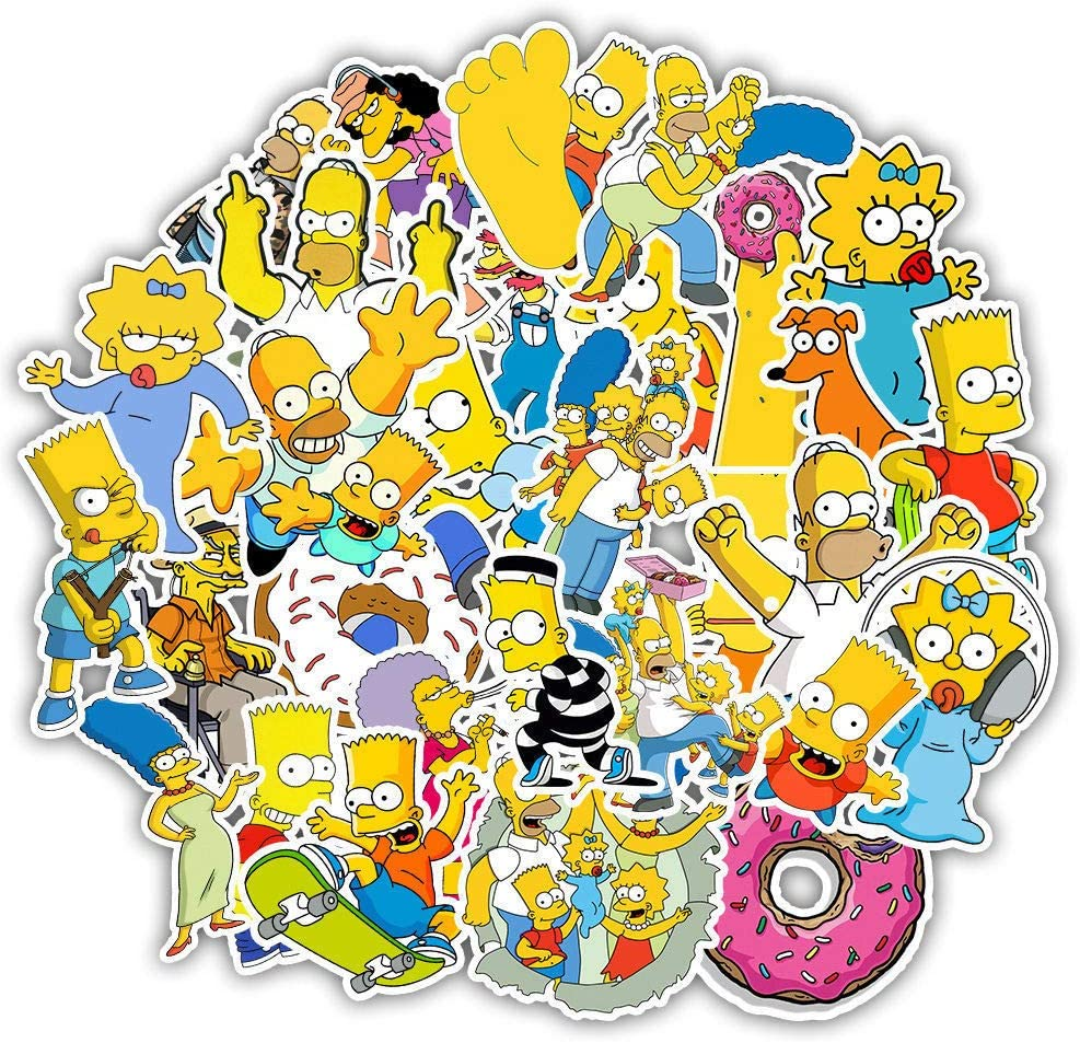 cillop Simpsons - 50 Pieces American Classic The Simpsons Laptop Stickers Vinyl Decal Waterproof Skateboard Car Snowboard Bicycle Luggage