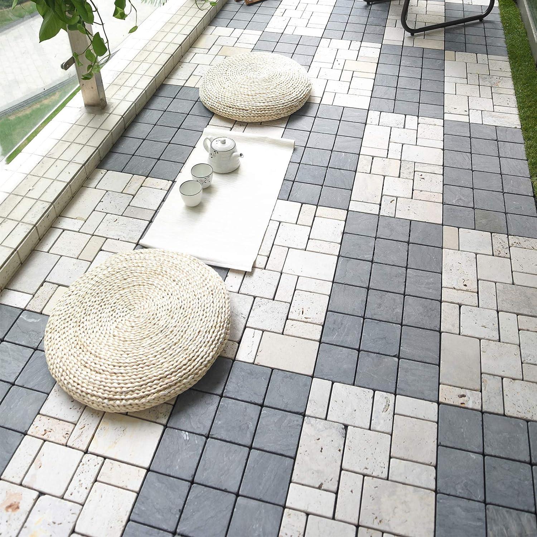 Steine grau grob HORI/® Terrassenfliesen steinoptik I Klick Bodenfliesen aus Naturstein I Modell