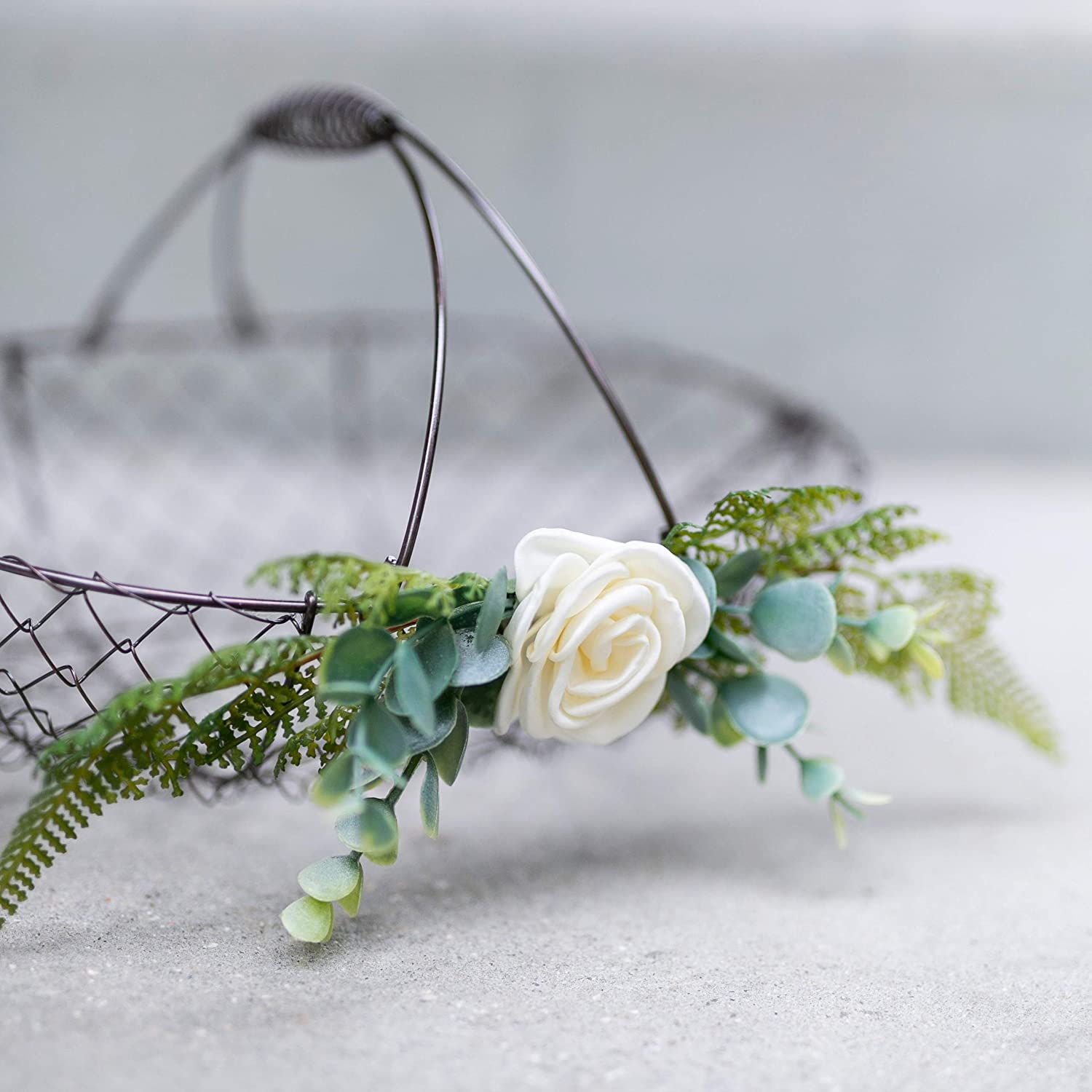 Flower Girl Basket for Petals by Ragga Wedding Wedding Basket w//Wood Handle Ivory Flower Girl Basket with Eucalyptus Greenery