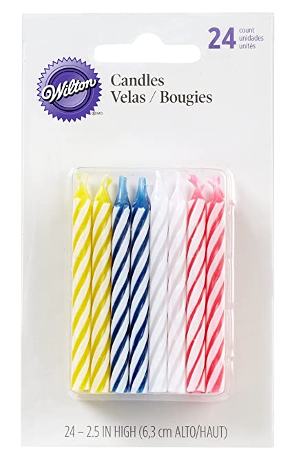 Wilton Birthday Candles 25 Inch Assorted Striped Spirals 24 Pack