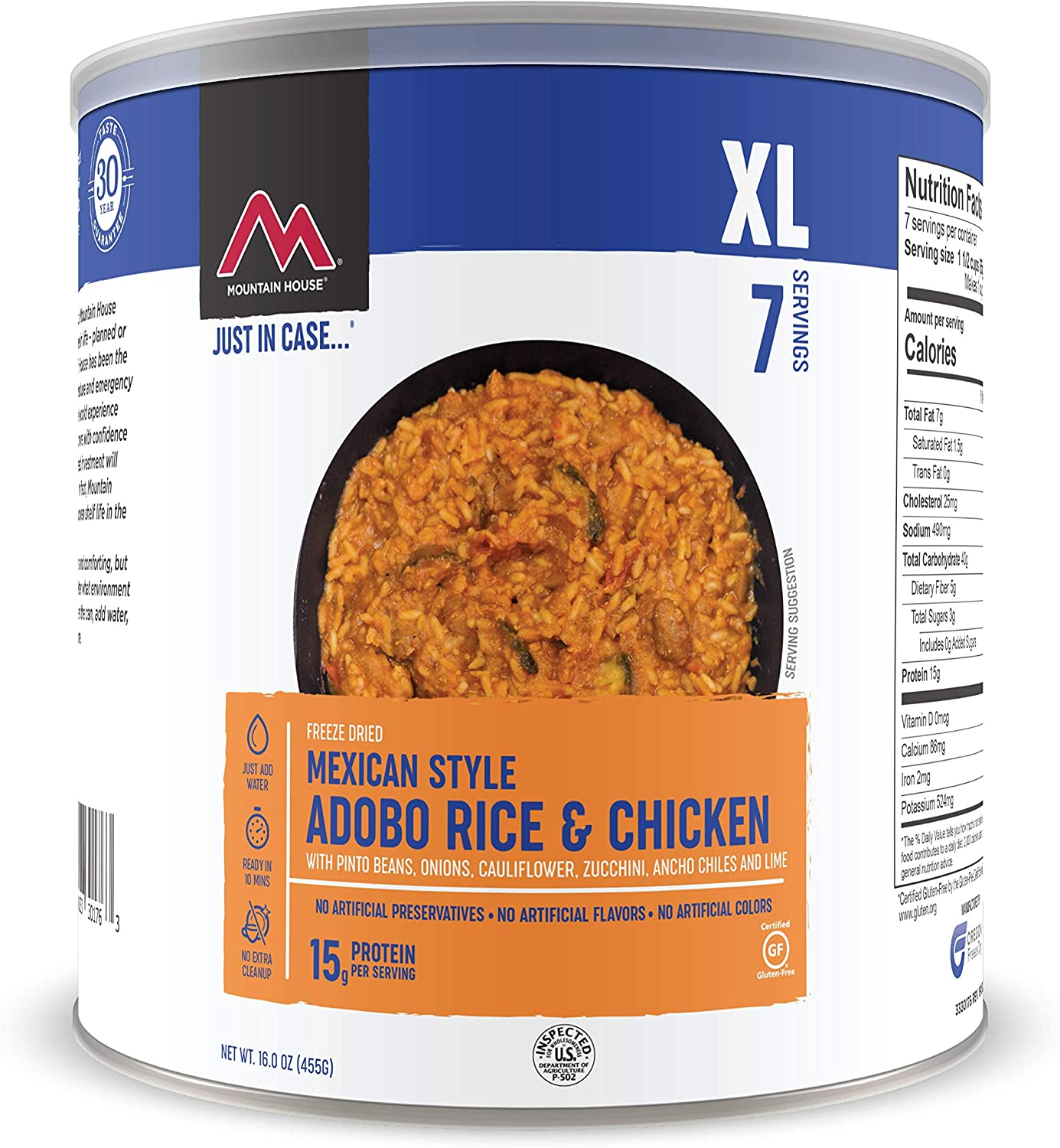 Mountain House Mexican Style Adobo Rice & Chicken | Freeze Dried Backpacking & Camping Food | Survival & Emergency Food | Gluten-Free