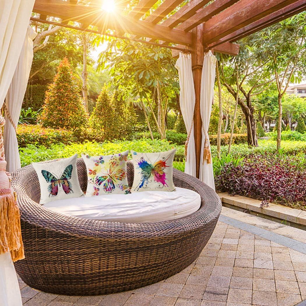 Funda de almohada cuadrada con diseño de mariposas, de algodón y lino, funda de cojín decorativa para el hogar, 45 x 45 cm, paquete de 6 unidades (solo funda, sin relleno): Amazon.es: Hogar