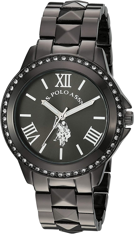 Amazon.com: U.S. Polo Assn. Women's Quartz Watch with Alloy Strap, Black,  17.6 (Model: USC40082): Watches