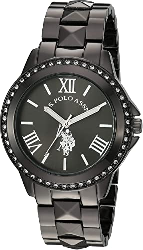 U.S. Polo Assn. Women's Watch with Crystal Studded Bezel, Alloy Bracelet Strap with Jewelry Clasp