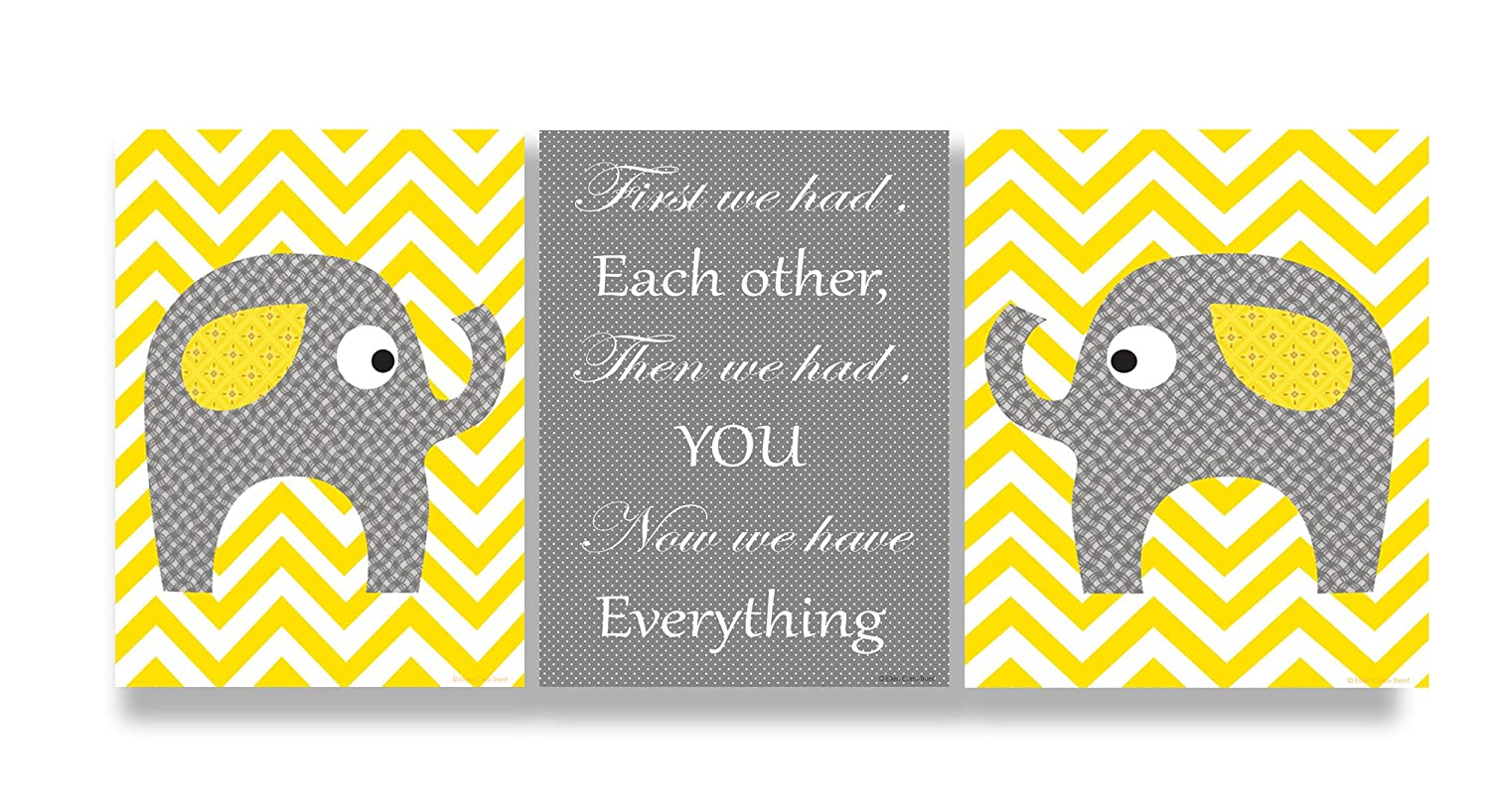 Amazon.com: The Kids Room By Stupell Grey Elephants On Yellow Chevron Now  We Have You 3 Pc. Rectangle Wall Plaque Set, 11 X 0.5 X 15, Proudly Made In  USA: ...