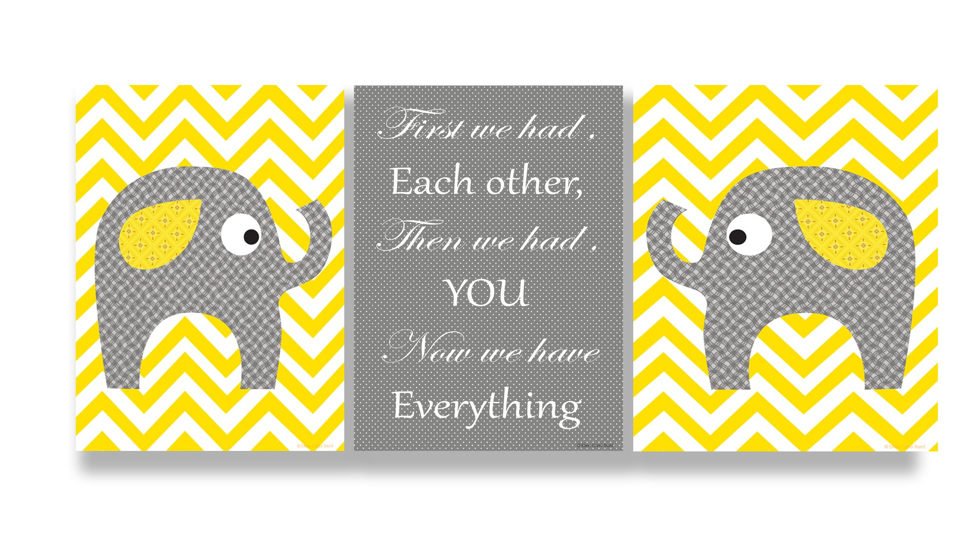 The Kids Room by Stupell Grey Elephants On Yellow Chevron Now We Have You 3-Pc. Rectangle Wall Plaque Set, 11 x 0.5 x 15, Proudly Made in USA by The Kids Room by Stupell