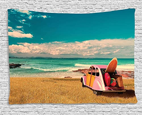 Ambesonne Beach Tapestry, Hippie Car by The Ocean Sunny Summer Day in Rural Coast Holiday Island Image, Wide Wall Hanging for Bedroom Living Room Dorm, 80 X 60 , Blue Brown