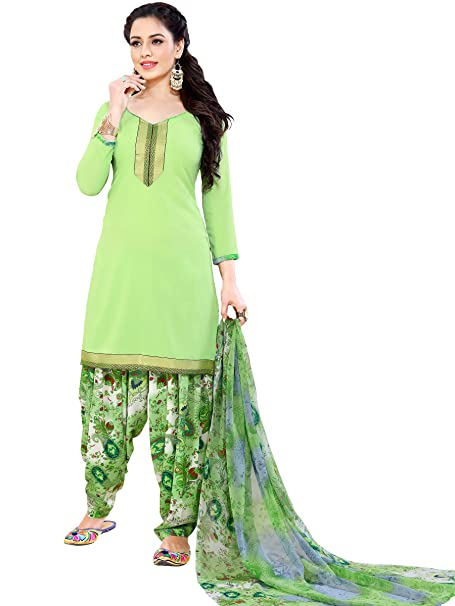 ec0fe980d6 Ishin Synthetic Green Printed Unstitched Salwar Suit Dress Material  (Anarkali/Patiyala) With Dupatta: Amazon.in: Clothing & Accessories