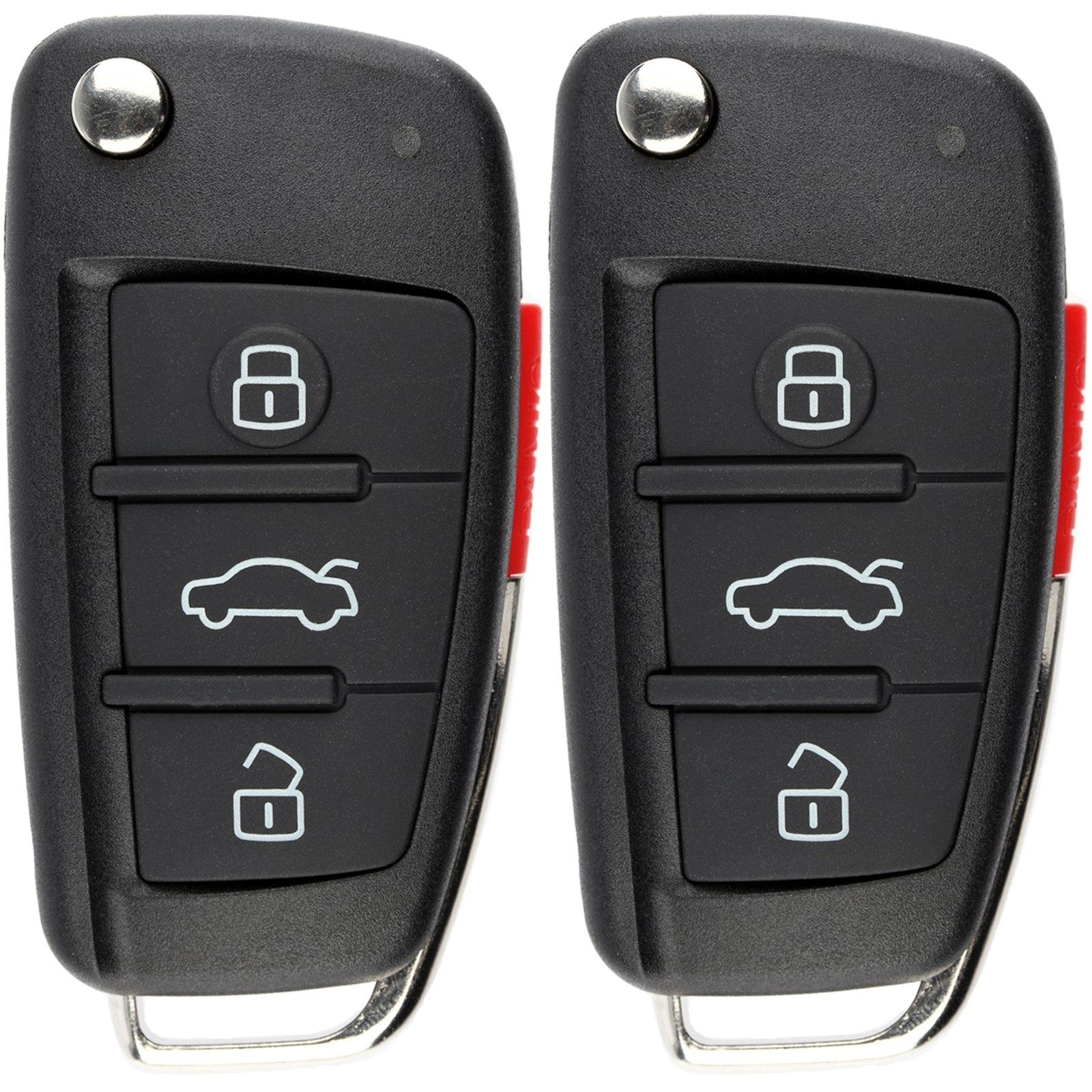 A8 KeylessOption Keyless Entry Remote Fob Car Ignition Flip Key for Audi A4 A6 Quattro