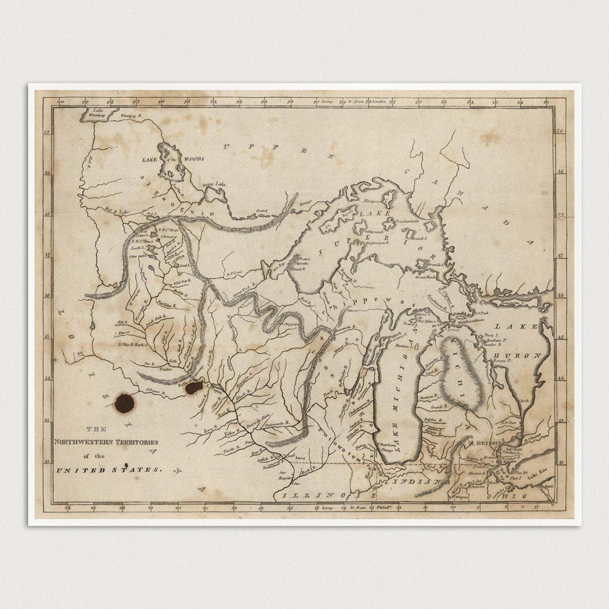 Amazon.com: Old Great Lakes Map Art Print, Michigan, Minnesota ...