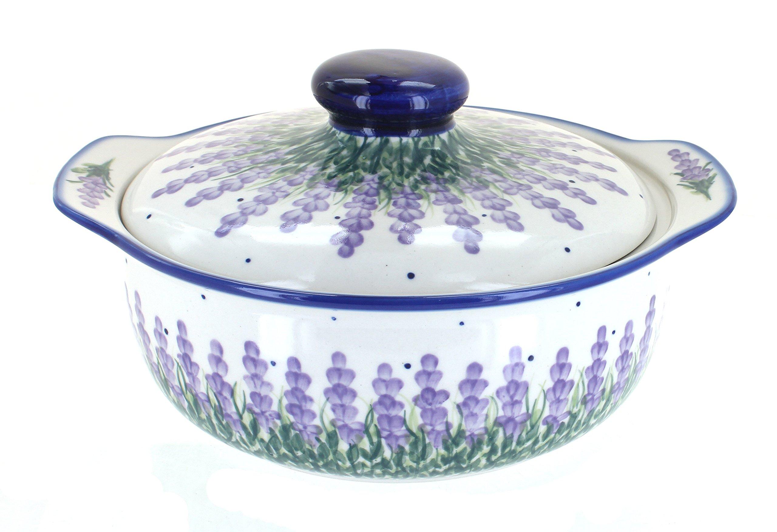 Blue Rose Polish Pottery Lavender Fields Round Covered Baker