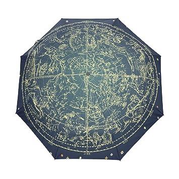 bennigiry estrellas automático 3 plegable sombrilla sol protección Anti-UV paraguas para mujeres