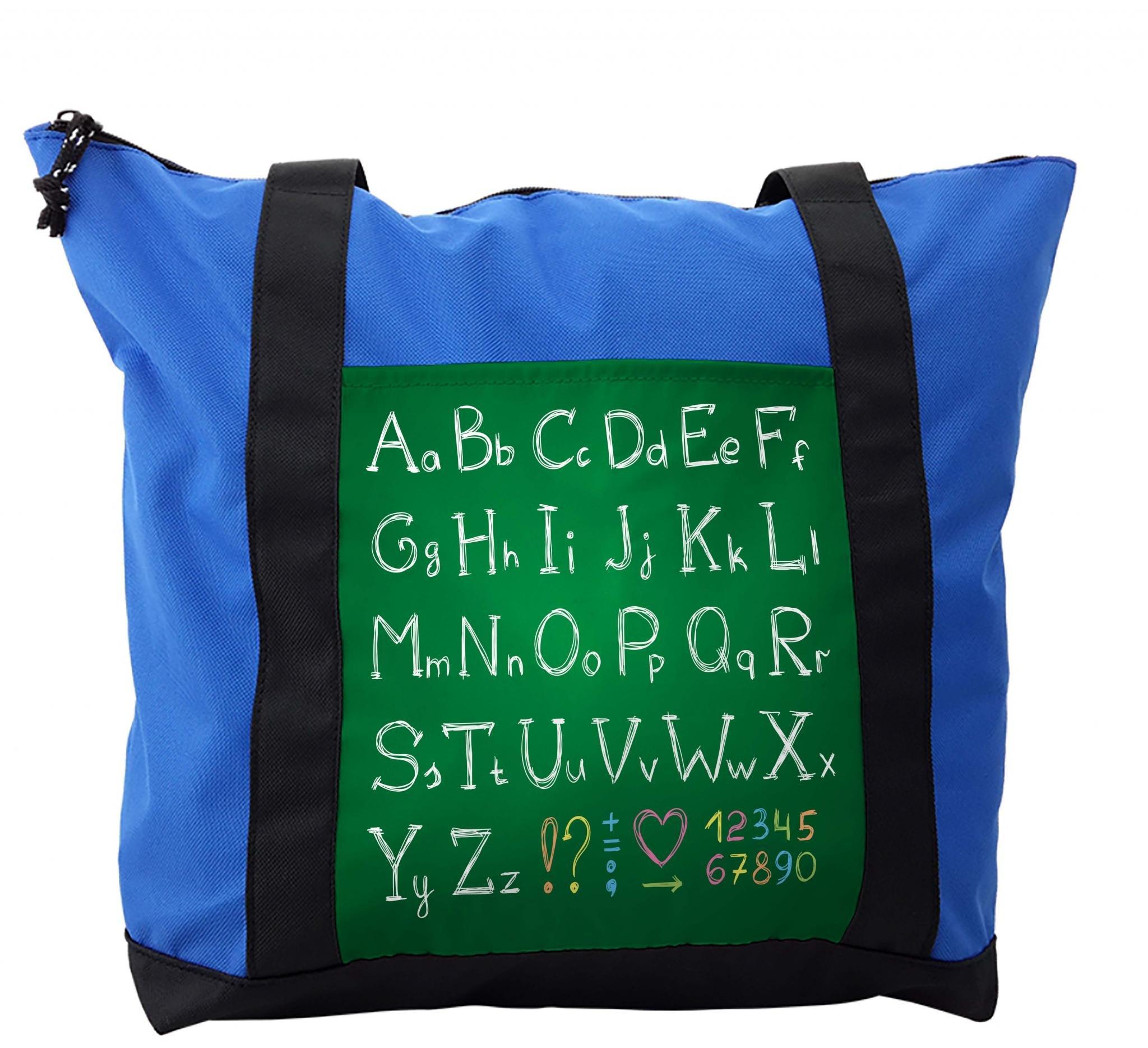 Lunarable ABC Kids Shoulder Bag, Capital Lowercase Letters, Durable with Zipper