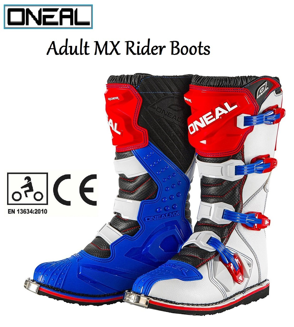 UNISEX MOTORBIKE CE BOOTS 2018 - ONEAL RIDER DIRT-BIKE MX OFF ROAD Quad ATV Motorcycle Motocross Track Trail Off Road Sports Shin Guard Proteciton Adult Race Boots (BLUE/RED/WHITE) ONEAL BOOTS
