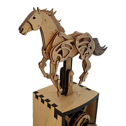 Abong 3d Wood Craft Mechanical Horse Automation Model 221 Pieces Of Precise Cuts Of Plywood Includes An Illustrated Instruction Book For The