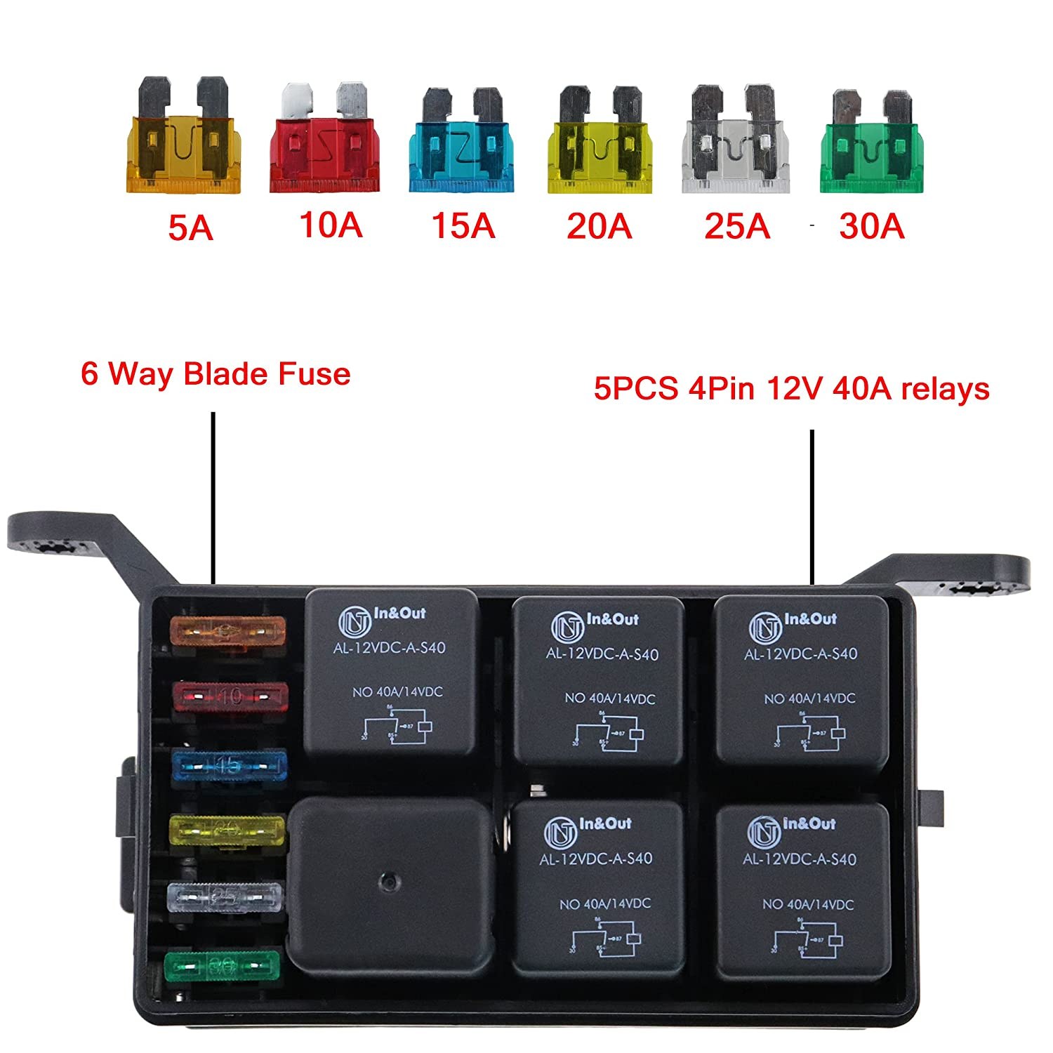 Iztor Universal 6 Way Blade Fuse Holder Box With Spade Terminals And Truck 5pcs 4pin