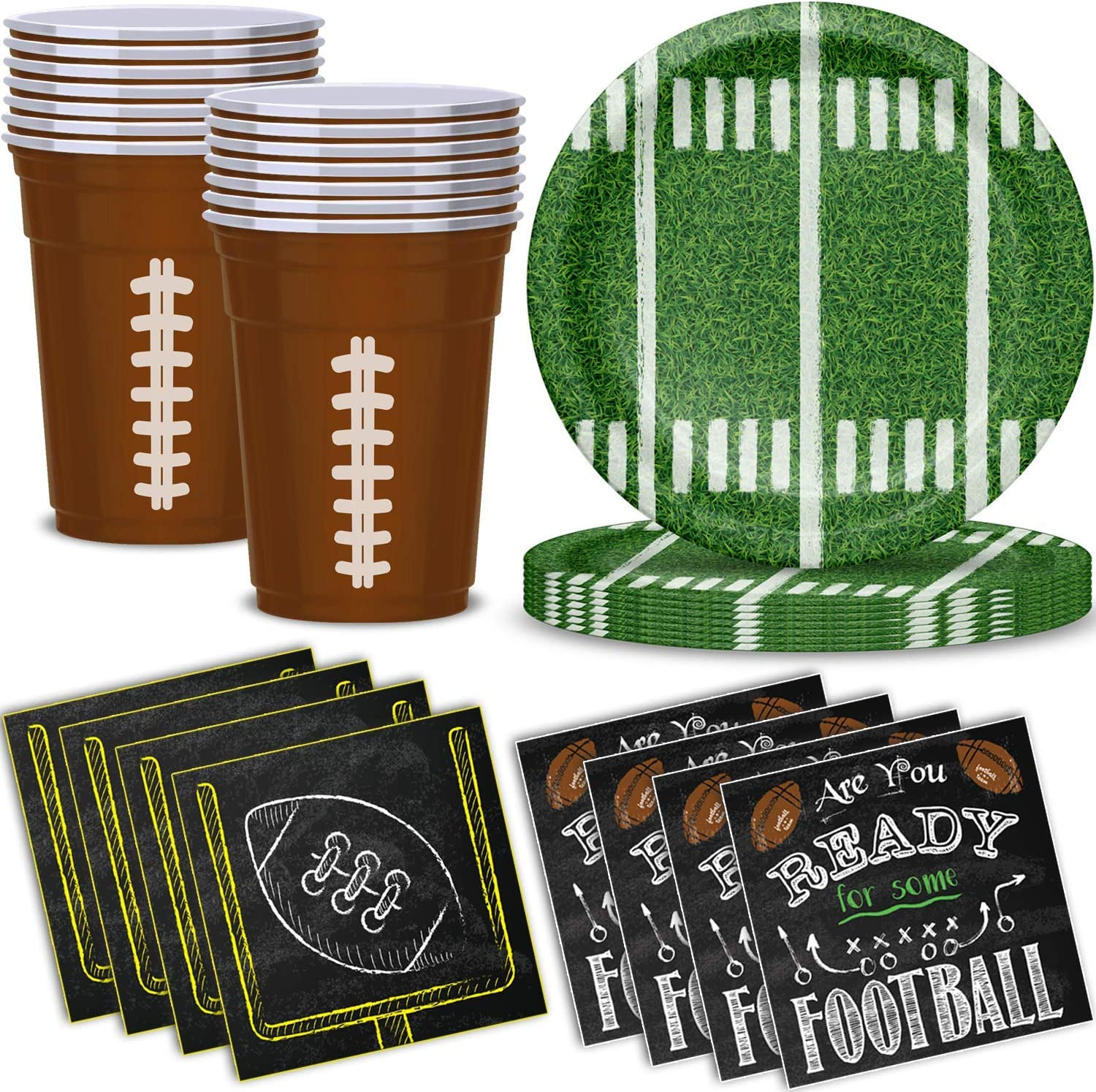 """Football Party Supplies for 32 - Disposable Paper Plates, Football Inspired Plastic Cups, """"Are You Ready for Some Football"""" Beverage Napkins - Great for Sport Events, Superbowl Themed Parties and Decorations"""