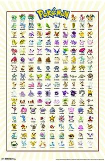 amazon com pokemon tv show gaming poster print kanto 151