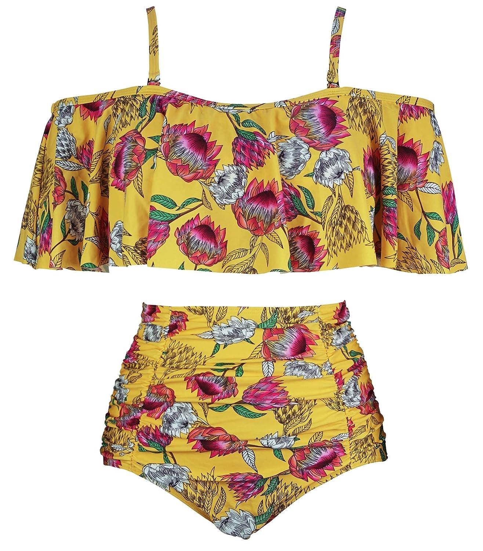 Cocoship Women's Ruffled Bikini Set Off Shoulder Flounce Falbala Top Ruched High Waist Bathing Swimsuit(Fba) by Cocoship