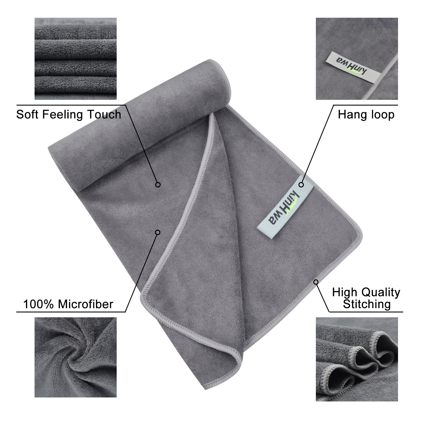 KinHwa Microfiber Sports Gym Towel Fast Drying Fitness Sweat Towels Multi-Purpose Workout Towel for Men and Women 3 Pack 16Inch x 31Inch