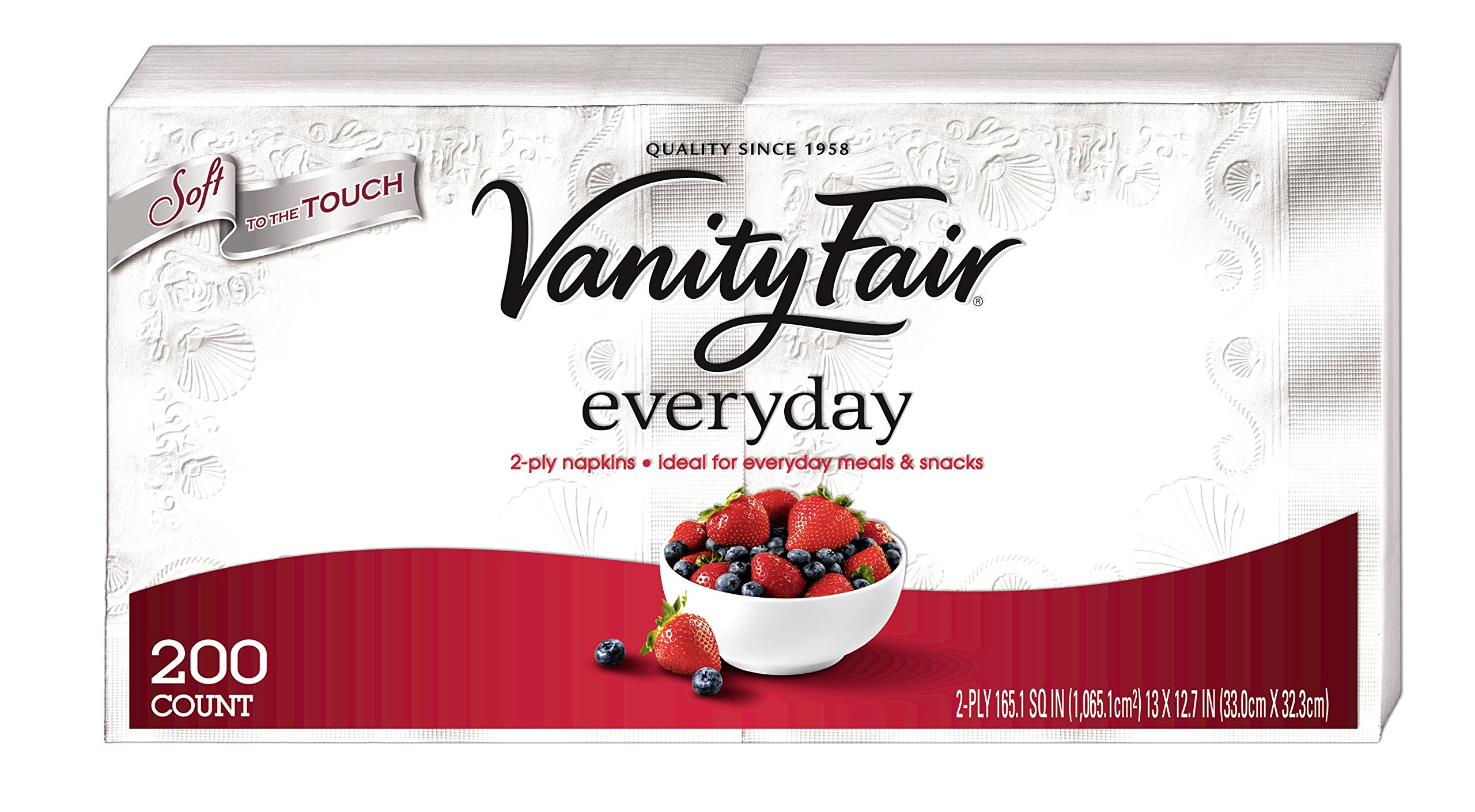 Vanity Fair Everyday Napkins, 400 Count Paper Napkins (2 Packs of 200 Napkins)