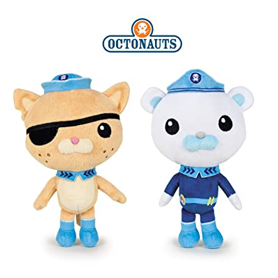 """Famosa Softies - Pack 2 peluches de Los Octonautas Captain Barnacles (oso polar) + Kwazii (el gato) 13 """"/ 35cm Calidad super soft: Juguetes y juegos"""