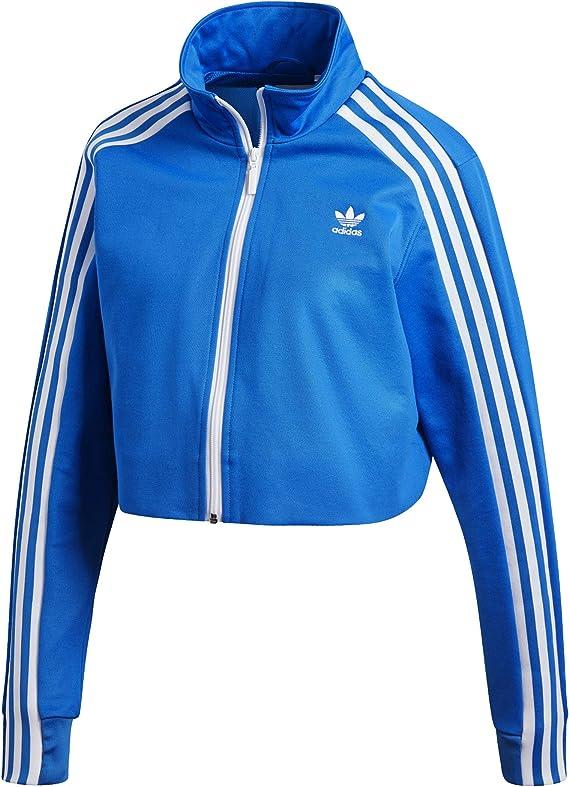 Veste de survêtement Crop Femme Adidas,Bleu,40 FR - M (Medium)