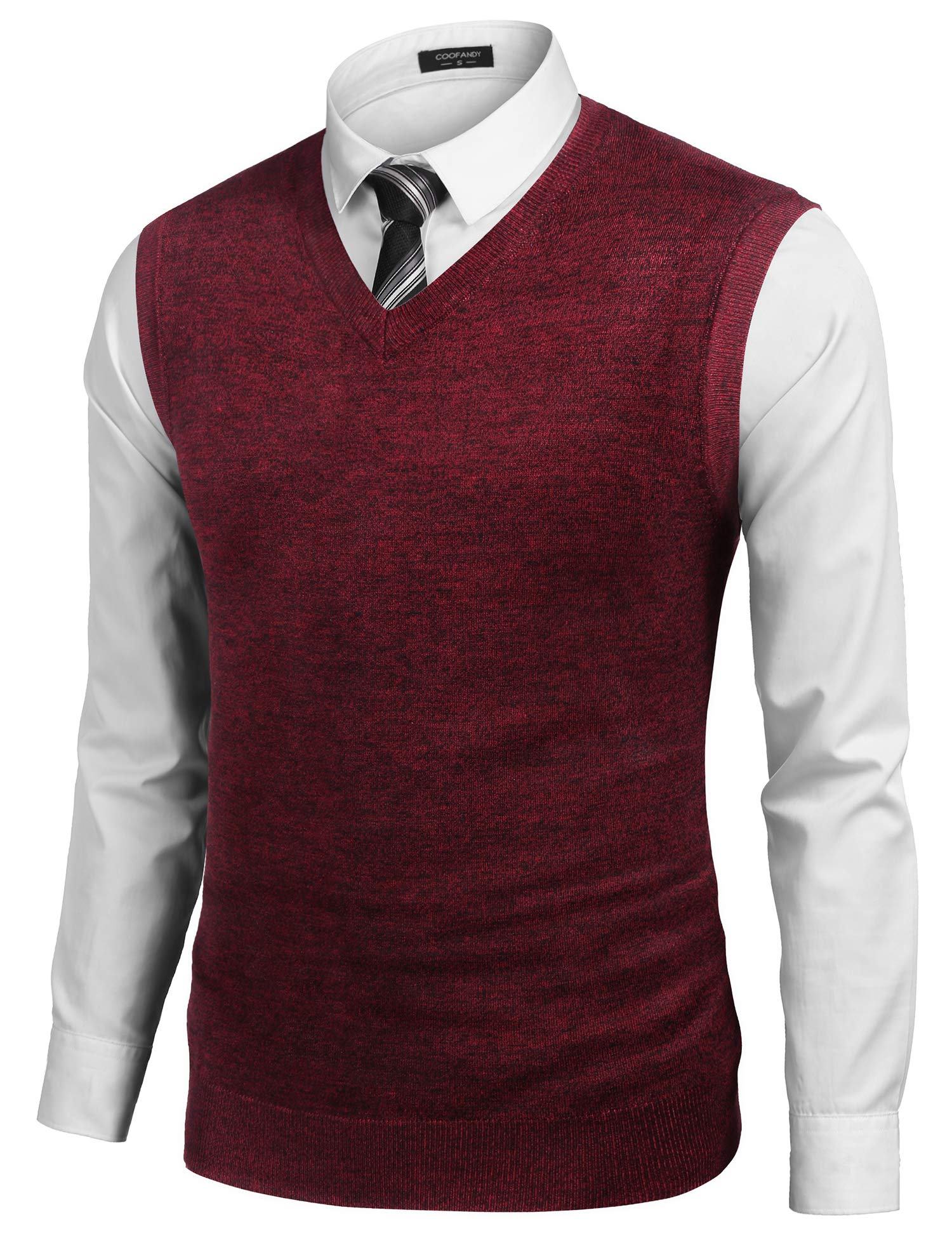 COOFANDY Mens Sweater Vest V Neck Plain Short Sleeve Sweater Pullover Knit Vest Wine Red by COOFANDY