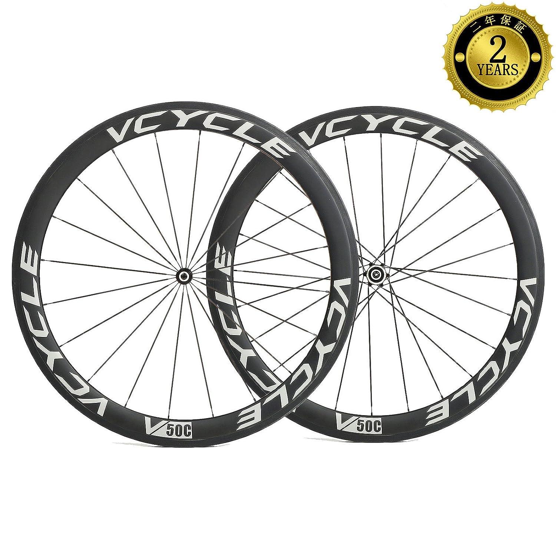 VCYCLE 50mmカーボンロード自転車クリンチャーホイール700Cストレートプルシマノ 8/9/10/11 スピード B0117XAAF8