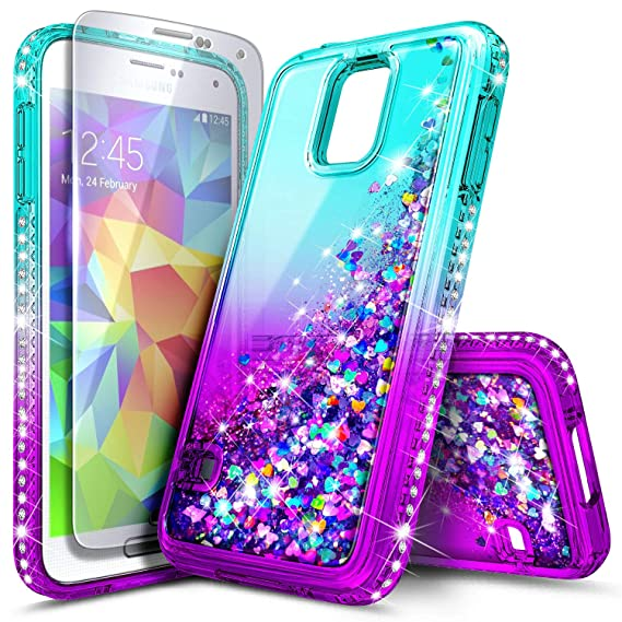 reputable site a97fb cce33 Galaxy S5 Case with Tempered Glass Screen Protector for Girls Women Kids,  NageBee Glitter Liquid Sparkle Bling Floating Waterfall Shockproof Durable  ...