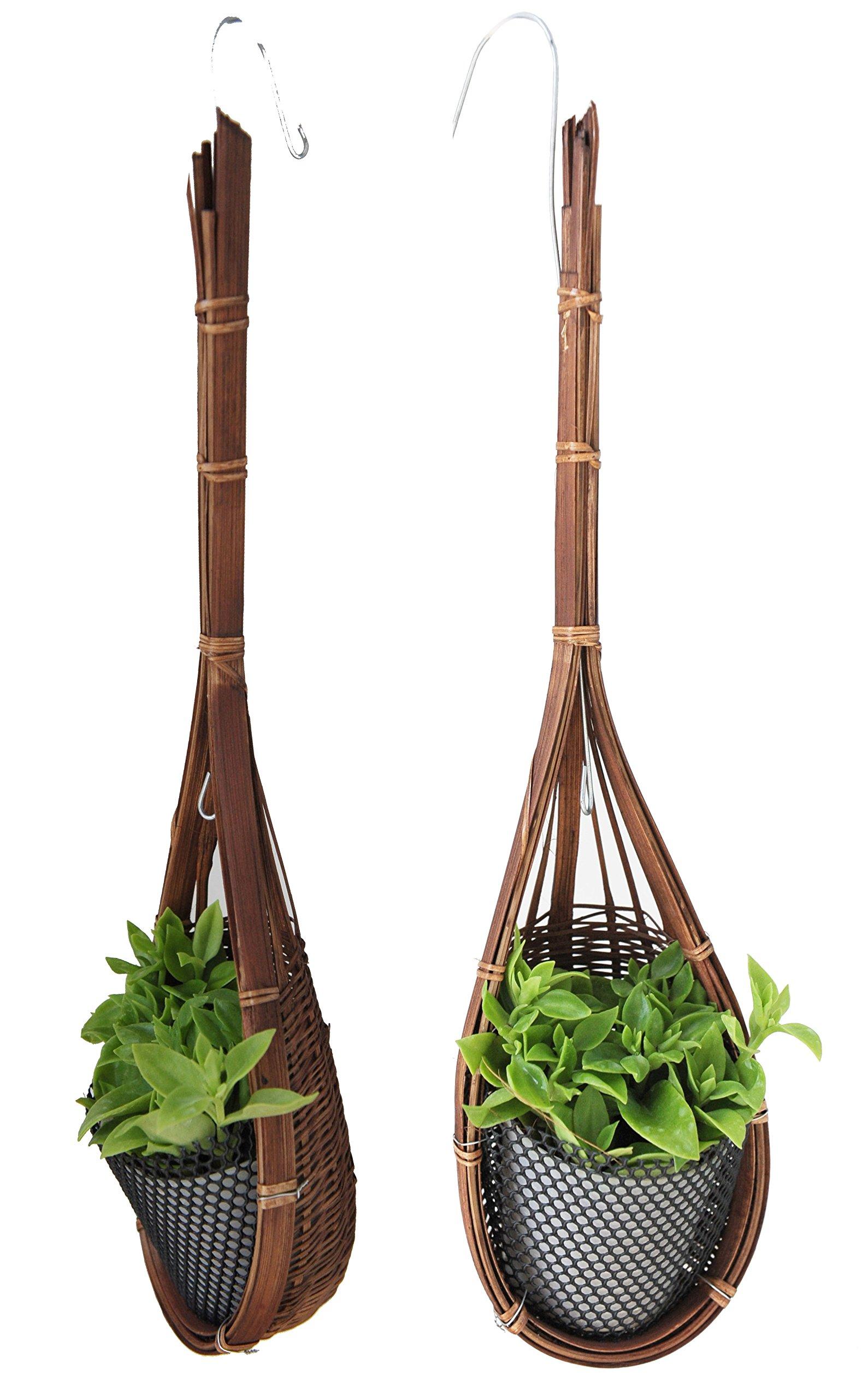 Exotic Elegance 2 Pieces Trellis Decorative Bamboo Woven Hanging Flower Plant Urn..