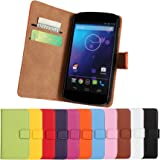 Nexus 4 Case iCoverCase Premium Leather [Card Slot] Wallet Case Kickstand Phone Shell [Book Flip] Cover for LG Google Nexus 4 E960 (Black)