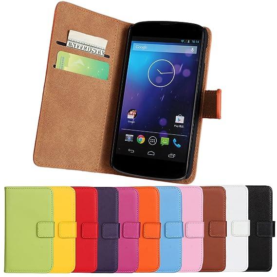 sports shoes 17c5a 0e207 Nexus 4 Case iCoverCase Premium Leather [Card Slot] Wallet Case Kickstand  Phone Shell [Book Flip] Cover for LG Google Nexus 4 E960 (Black)