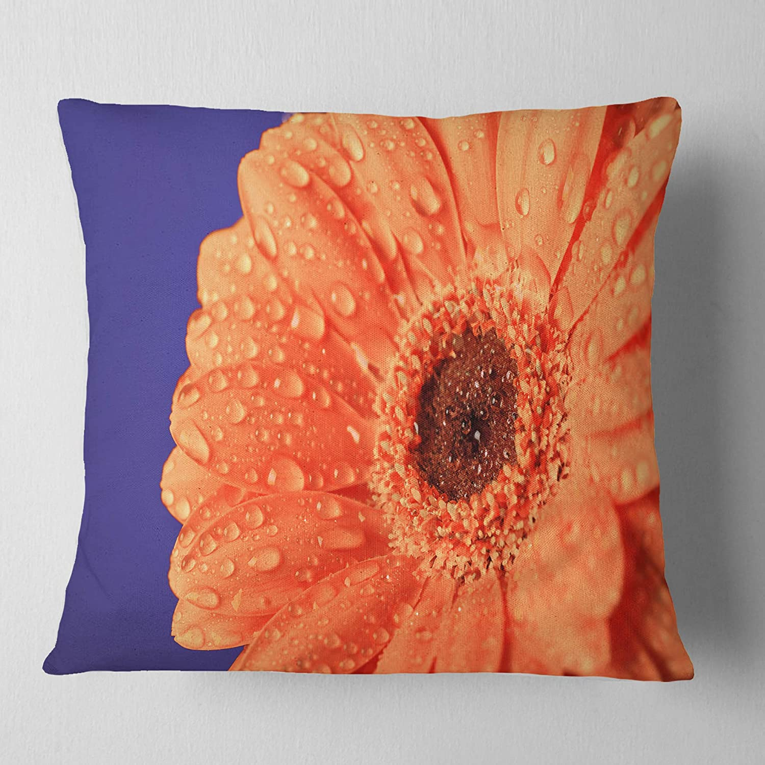 x 26 in Insert Printed On Both Side Sofa Throw Pillow 26 in Designart CU14714-26-26 Orange Daisy On Purple Background Floral Cushion Cover for Living Room in