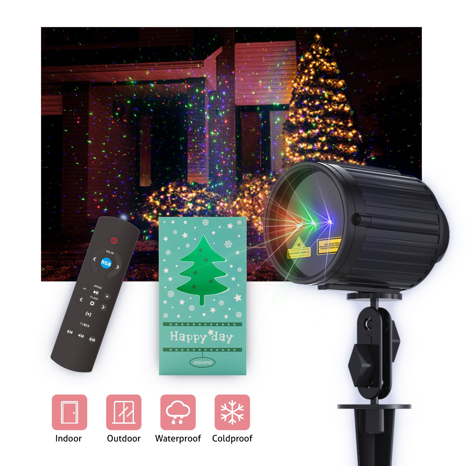 Christmas Projector Light, Laser Projector Red Green and Blue Star 3 Modes with RF Remote Control, Garden Lamp Weatherproof Xams Star Laser Show Lighting for Halloween, Party, Holiday Decoration by Fiery Fouth