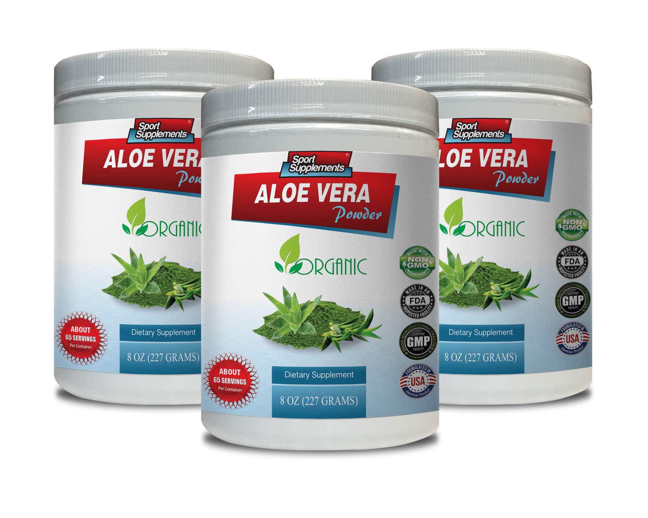 antioxidant Organic - Aloe Vera Powder Organic - Dietary Supplement - Aloe Vera Vitamins Organic for Women - 3 Cans 24 OZ (195 Servings)