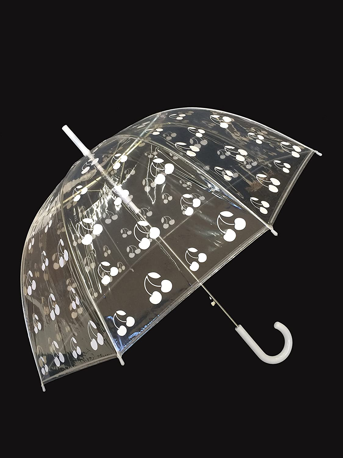 Amazon.com: SMATI Stick Birdcage Clear Umbrella Dome Transparent - Automatic Open(Cherry White): Sports & Outdoors