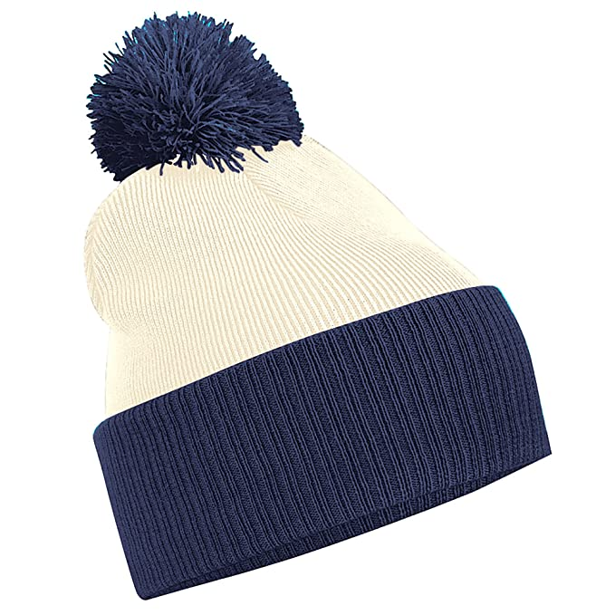 85cc542efa2 Amazon.com  Beechfield Snowstar Duo Two-Tone Winter Beanie Hat (One Size)  (Black   Bright Royal)  Clothing