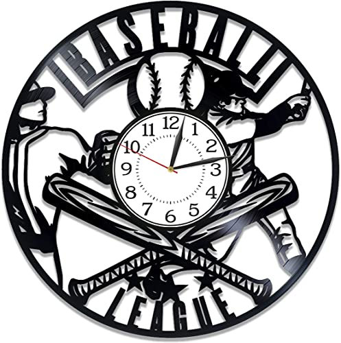 Kovides Baseball Birthday Gift Idea Sport Vinyl Clock 12 Inch Baseball Original Home Decor Sport Vinyl Record Wall Clock Baseball Handmade Clock