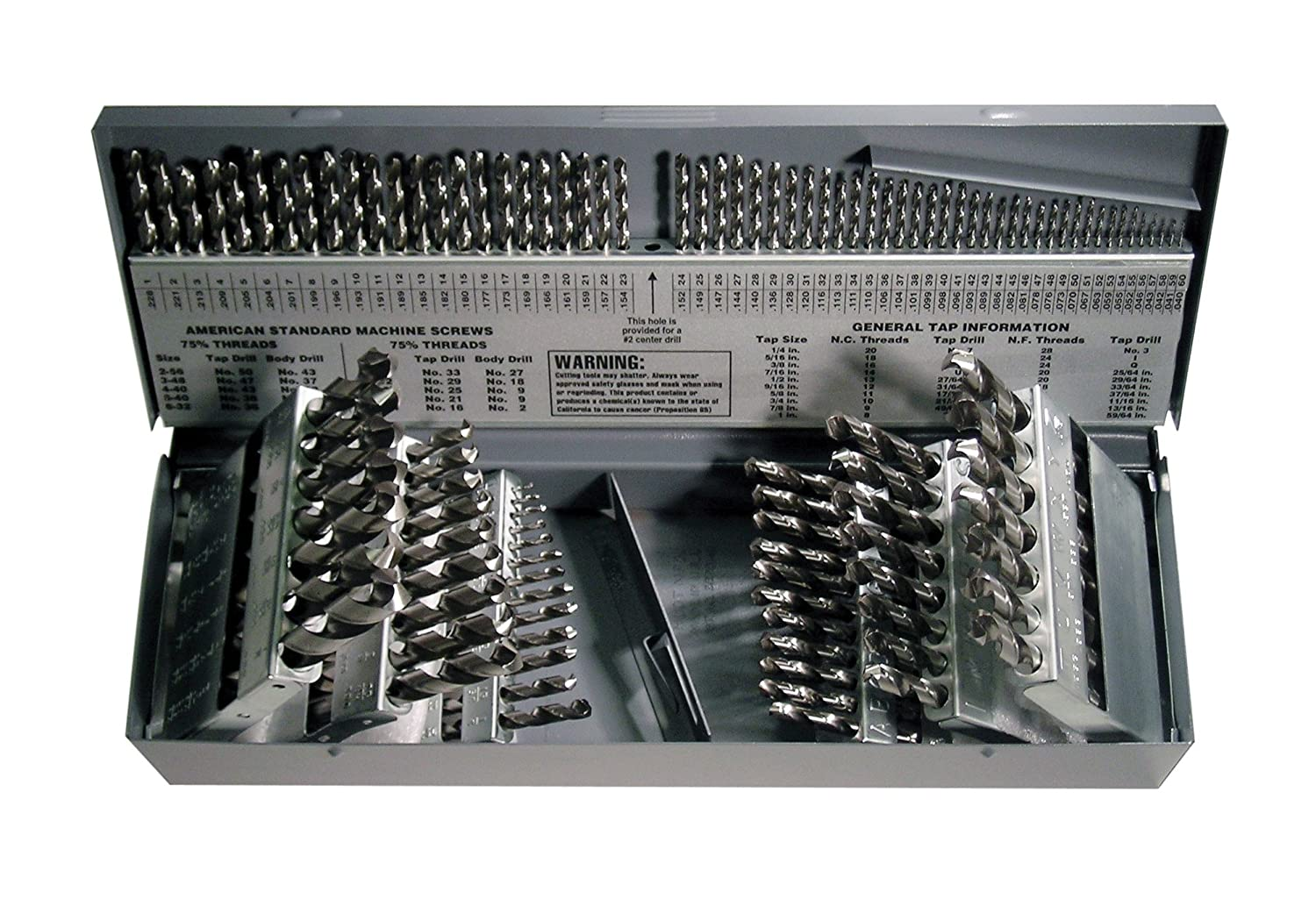Cleveland C01330 CLE-MAX 115 Piece High-Speed Steel General Purpose Jobber Length Drill Bit Set, Uncoated (Bright) Finish, Spiral Flute, 118 Degrees Point, 1/16 to 1/2, A to Z, #1 to #60 Size by Cleveland B00E4AWUH8