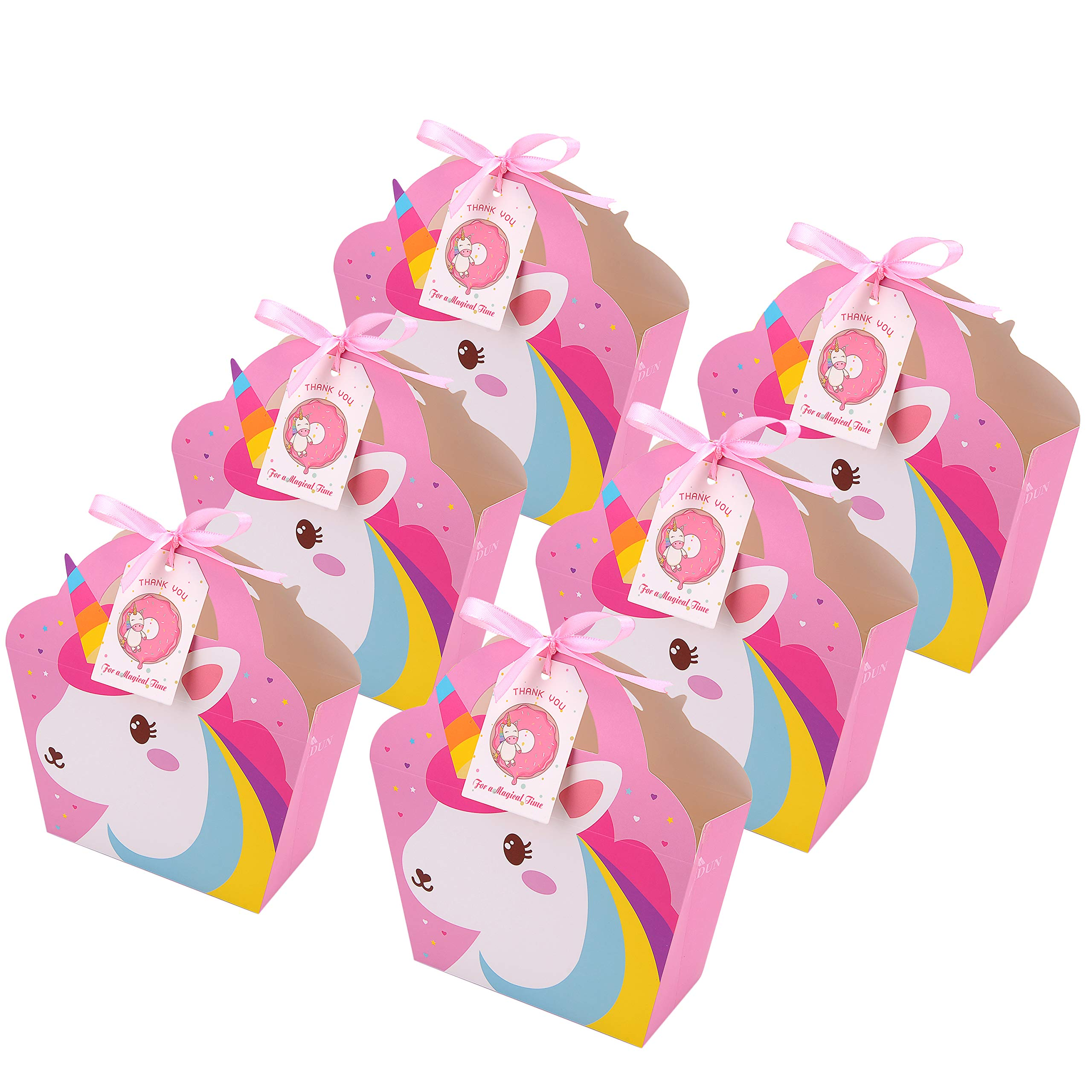 MORDUN 24 Unicorn Party Favor Bags Thank You Tags Included- Goodie Bags, Kids Birthday Party, Baby Shower, Rainbow, First Birthday, Treat Bag- Pink