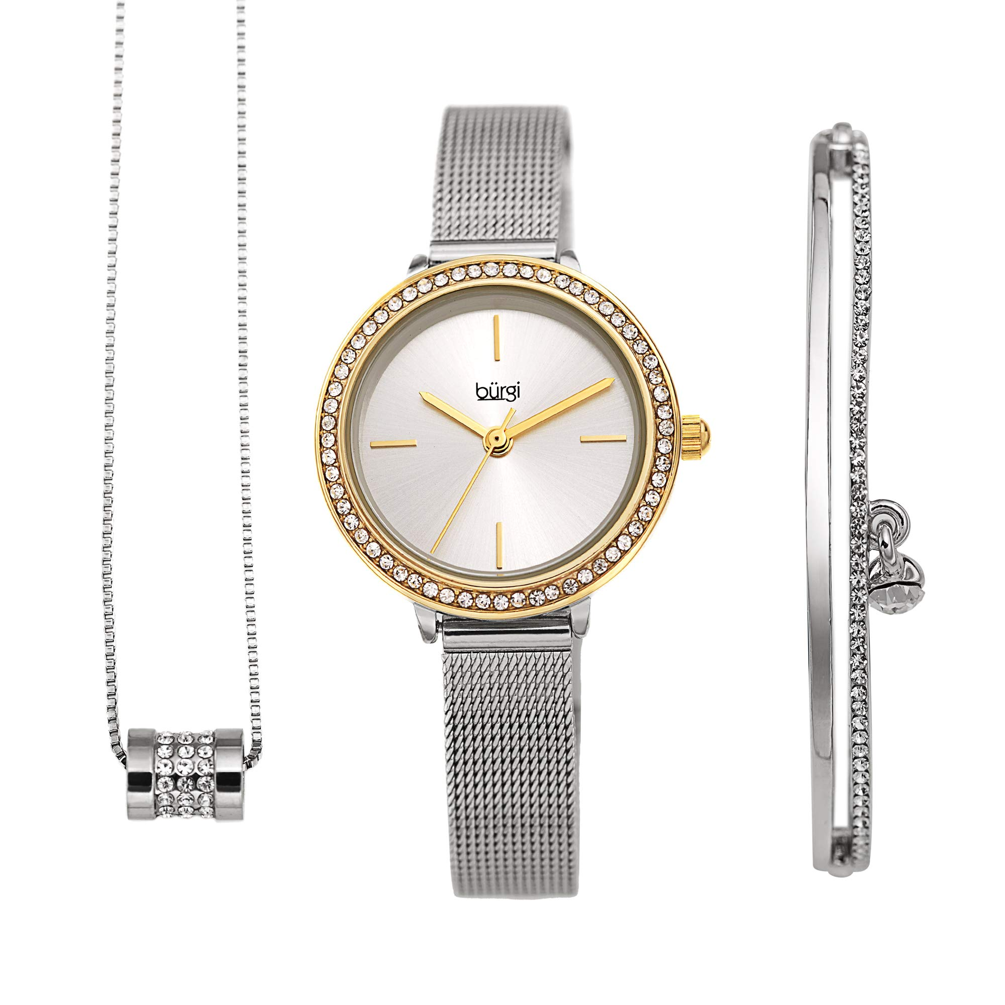 Burgi Women's Jewelry Gift Set – Swarovski Crystal Bezel Watch and Bracelet, Beaded Chain Link Necklace – Flash Plated Gold and Silver - BUR216TTG-S